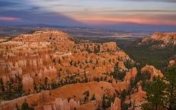 Puesta del sol sobre Bryce Canyon Imagen de archivo libre de regalías