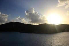 Puesta del sol sobre Charlotte Amalie Harbor, St Thomas Imagen de archivo libre de regalías