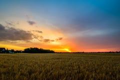 Puesta del sol sobre clasifiada Imagen de archivo libre de regalías