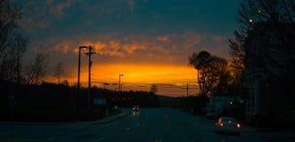 Puesta del sol sobre Clemson Fotos de archivo libres de regalías