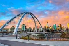 Puesta del sol sobre Edmonton imagen de archivo libre de regalías