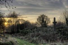 Puesta del sol sobre el cementerio de Bradford Imagen de archivo libre de regalías