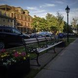 Puesta del sol sobre el distrito histórico nacional de Charlottetown, Canadá imagen de archivo libre de regalías