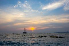 Puesta del sol sobre el golfo de Tailandia Imagen de archivo