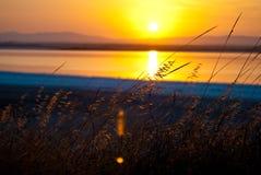 Puesta del sol sobre el lago, belleza chipriota de la naturaleza foto de archivo libre de regalías
