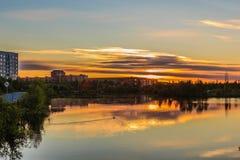 Puesta del sol sobre el lago Komsomol Fotografía de archivo