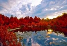 Puesta del sol sobre el lago melancólico rojo del resorte Imágenes de archivo libres de regalías