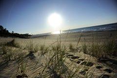 Puesta del sol sobre el lago Michigan Fotos de archivo