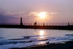 Puesta del sol sobre el lago Michigan Foto de archivo