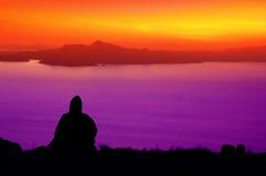 Puesta del sol sobre el lago Titicaca Perú - 5 Fotos de archivo