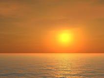 Puesta del sol sobre el mar stock de ilustración