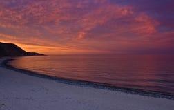 Puesta del sol sobre el mar de Cortez Fotos de archivo libres de regalías