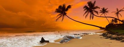 Puesta del sol sobre el mar Panorama Imagen de archivo libre de regalías