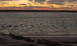 Puesta del sol sobre el Pinelands imagen de archivo