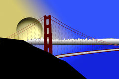 Puesta del sol sobre el puente de puerta de oro Imagenes de archivo