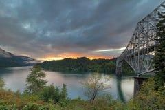 Puesta del sol sobre el río de Colombia Foto de archivo libre de regalías