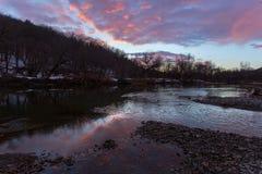 Puesta del sol sobre el río de Hoosic Imagen de archivo libre de regalías