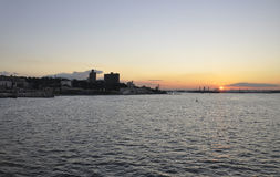 Puesta del sol sobre el río Hudson de New York City Fotos de archivo libres de regalías