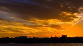 Puesta del sol sobre el río Potomac en Washington, DC Fotografía de archivo