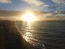 Puesta del sol sobre Elliott Bay imagenes de archivo