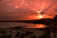 Puesta del sol sobre Estepona España Imagenes de archivo