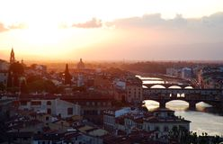 Puesta del sol sobre Florencia Fotografía de archivo libre de regalías