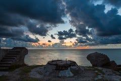 Puesta del sol sobre fuertes Fotografía de archivo libre de regalías