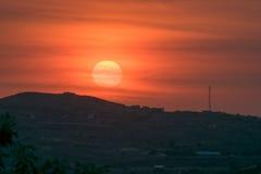 Puesta del sol sobre Haití Fotos de archivo