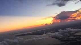 Puesta del sol sobre Houston imágenes de archivo libres de regalías