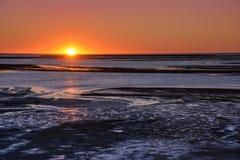 Puesta del sol sobre humedales del delta Fotografía de archivo libre de regalías