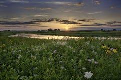 Puesta del sol sobre Illinois Foto de archivo libre de regalías