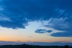 Puesta del sol sobre la avenida del ciprés Imagen de archivo libre de regalías