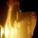 Puesta del sol sobre la central eléctrica Fotografía de archivo