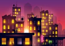 Puesta del sol sobre la ciudad libre illustration