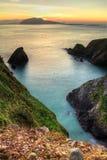 Puesta del sol sobre la península de la cañada Imagenes de archivo