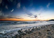 Puesta del sol sobre la playa, Marbella, España Fotografía de archivo