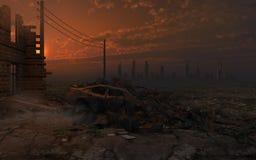 Puesta del sol sobre las ruinas de la ciudad ilustración del vector