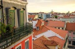 Puesta del sol sobre Lisboa Foto de archivo libre de regalías