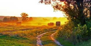Puesta del sol sobre los campos, y paja. Imagen de archivo libre de regalías