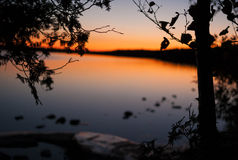 Puesta del sol sobre los Great Lakes Imagen de archivo libre de regalías