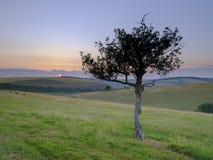 Puesta del sol sobre los plumones del sur - panorama cosido de alta resoluci?n del verano de la luz de oro de la hora que cae en  fotografía de archivo libre de regalías