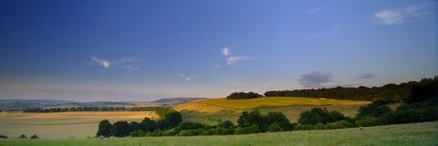 Puesta del sol sobre los plumones del sur - panorama cosido de alta resoluci?n del verano de la luz de oro de la hora que cae en  foto de archivo libre de regalías