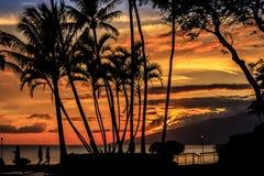 Puesta del sol sobre Molokai Fotografía de archivo