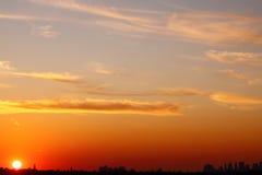 Puesta del sol sobre New York City Fotografía de archivo libre de regalías