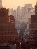 Puesta del sol sobre New York City Foto de archivo libre de regalías