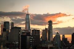 Puesta del sol sobre NYC Foto de archivo libre de regalías