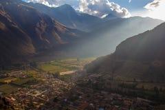 Puesta del sol sobre Ollantaytambo Foto de archivo libre de regalías
