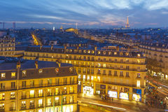 Puesta del sol sobre París Imagen de archivo