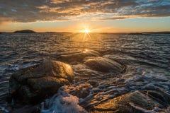 Puesta del sol sobre Rakke Imagenes de archivo