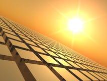 Puesta del sol sobre red del cubo ilustración del vector